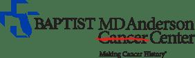 "Baptist MD Anderson Cancer Center logo with tagline, ""Make Cancer History."""