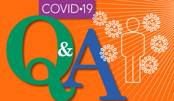 """illustration of words """"covid-19 q & a"""" and immunity"""