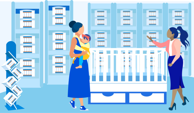 illustration of mom with baby picking out a crib