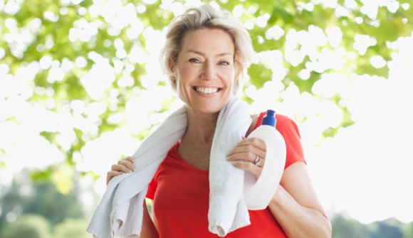 Lady with towel around her neck