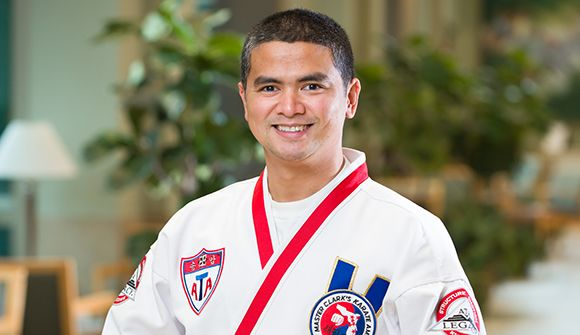 Xavier Javier in his Taekwondo uniform