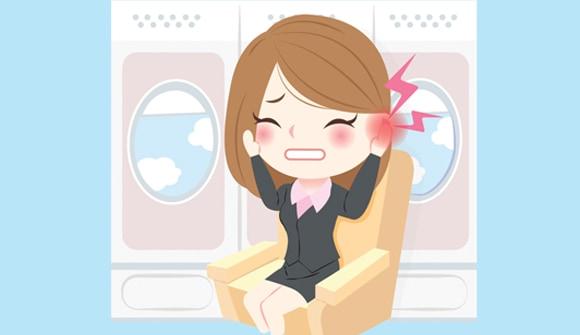 woman on flight with earache