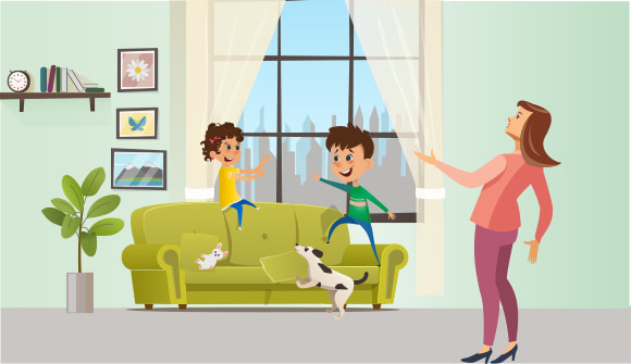 mom with children who are jumping on couch