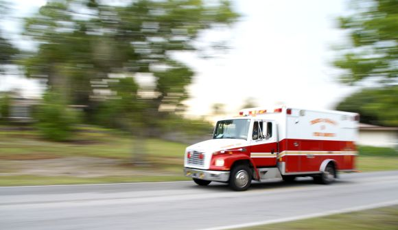 ambulance with blurry background