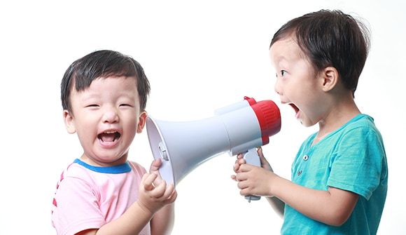 Little boys with megaphone