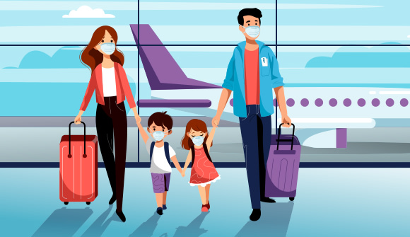 Graphic of family of four wearing masks at the airport.