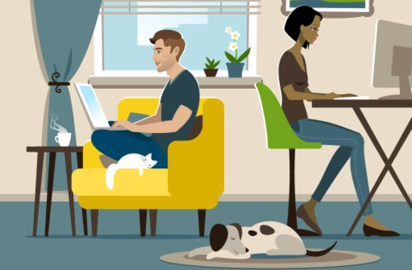 Man and woman working from home in cramped house