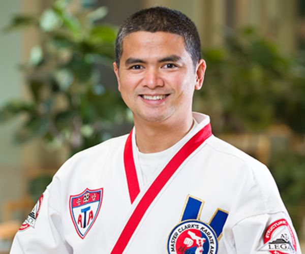 Xavier Javier in his Taekwondo uniform