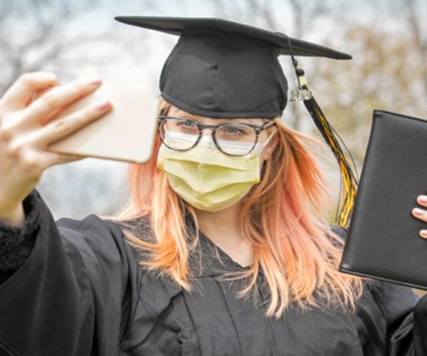 graduate wearing mask