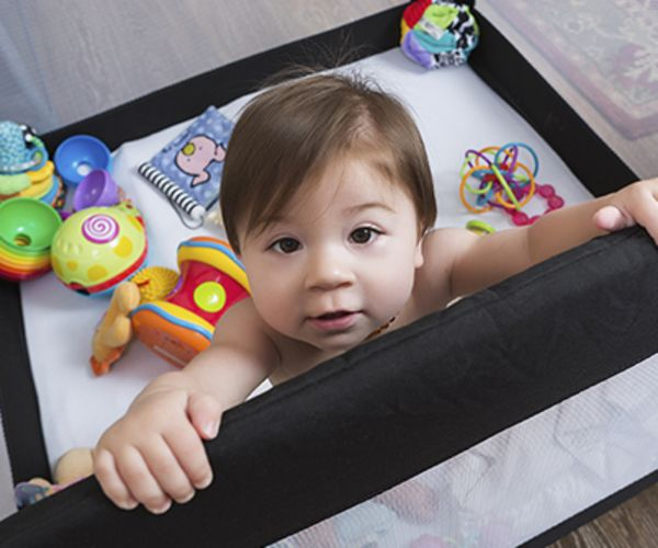 Baby in pack and play