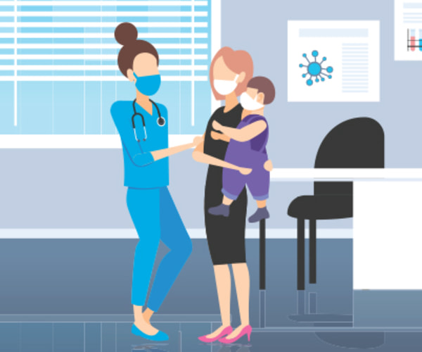 pediatrician with mom and child