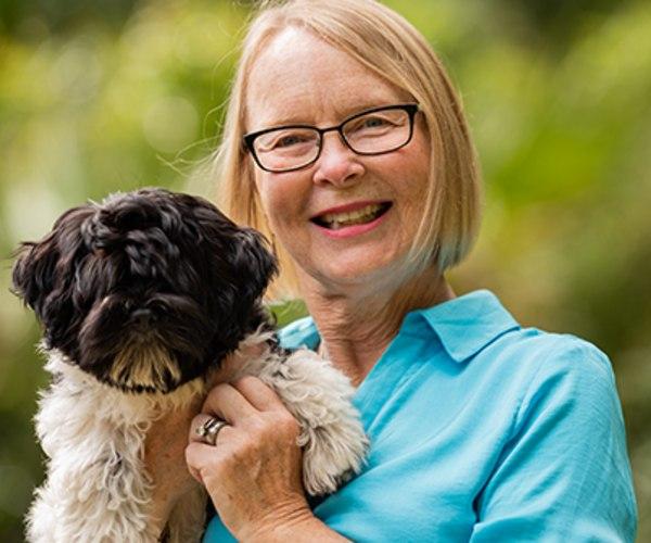 Patient Debbie Haynam with her puppy