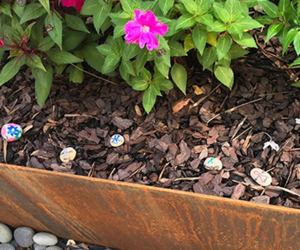 Painted rocks in Baptist MD Anderson Cancer Center courtyard.