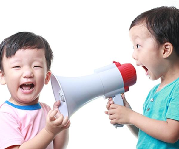Little boys with megaphone