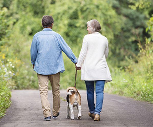 Older couple walking their dog.