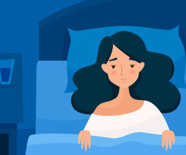graphic of a woman in bed