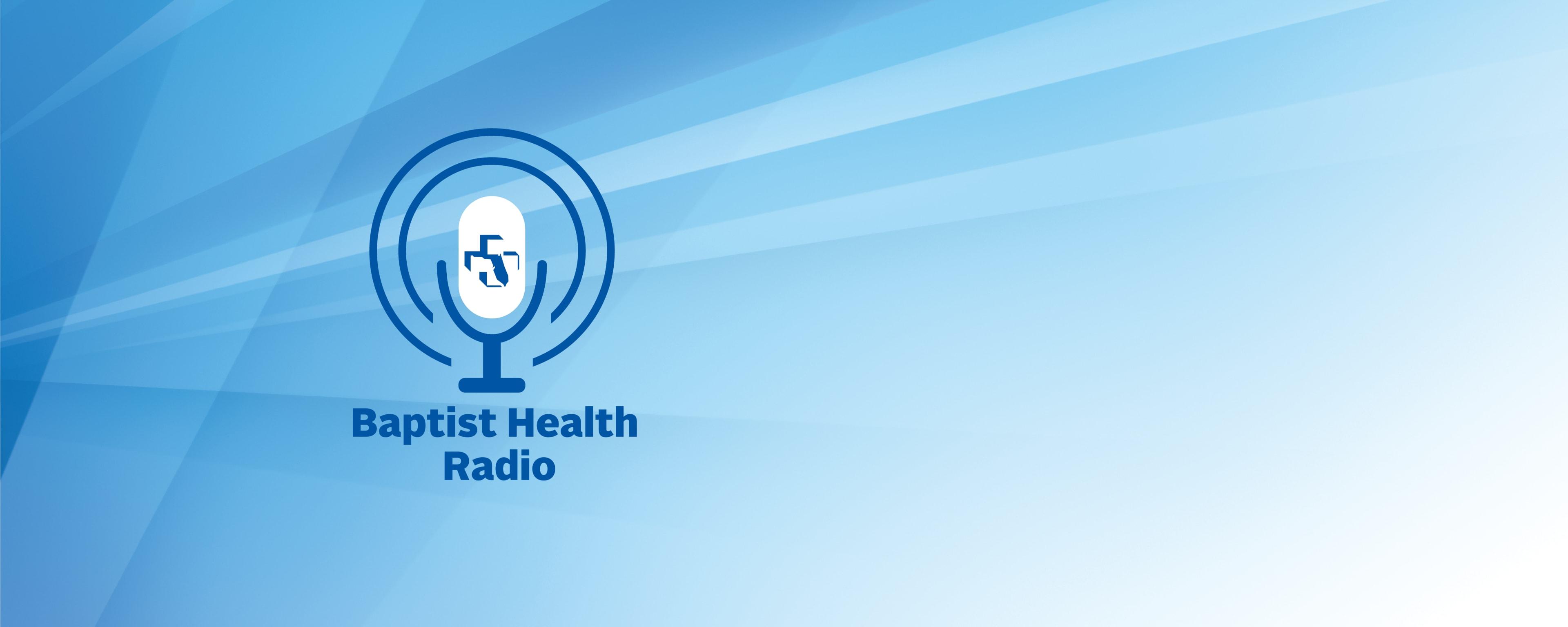baptist health radio logo on blue background