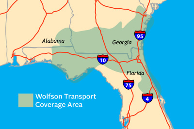 Wolfson Children's Hospital Transport Coverage Area
