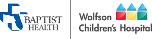 Baptist Health logo next to the Wolfson Children's Hospital logo