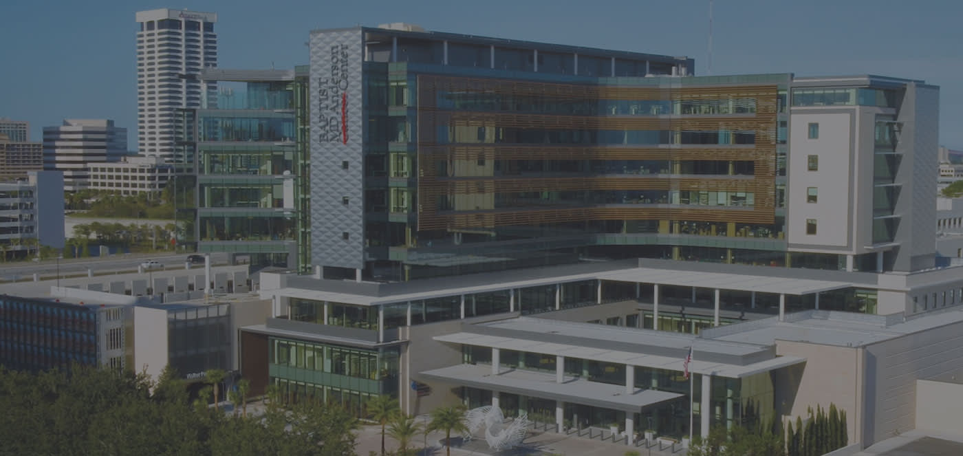 An exterior photo of Baptist MD Anderson Cancer Center.