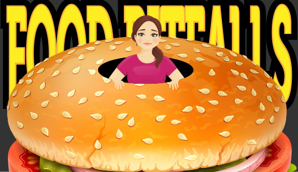 cartoon of woman trapped in a giant hamburger