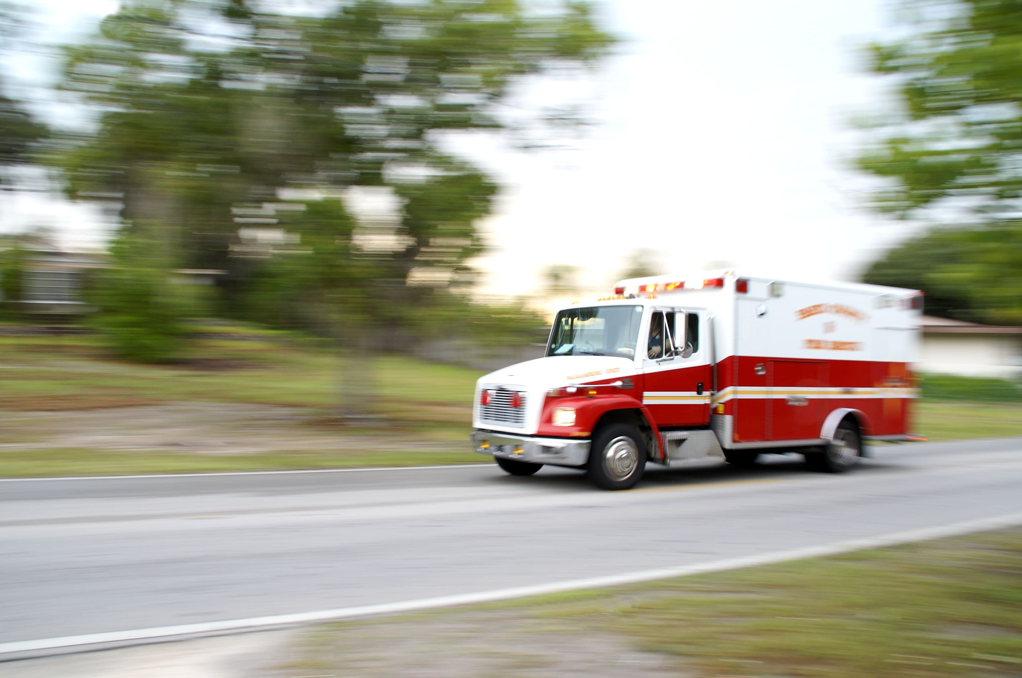 ambulance with blurry background