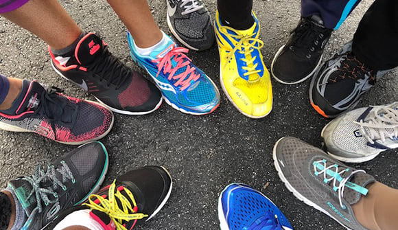 running shoes in a circle