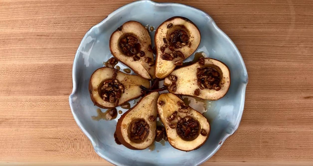 Roasted Maple Pecan Pears