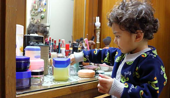 cosmetics on counter