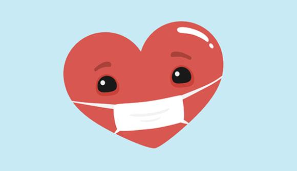 heart wearing a mask
