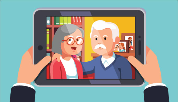Older couple on the screen of a device visiting son
