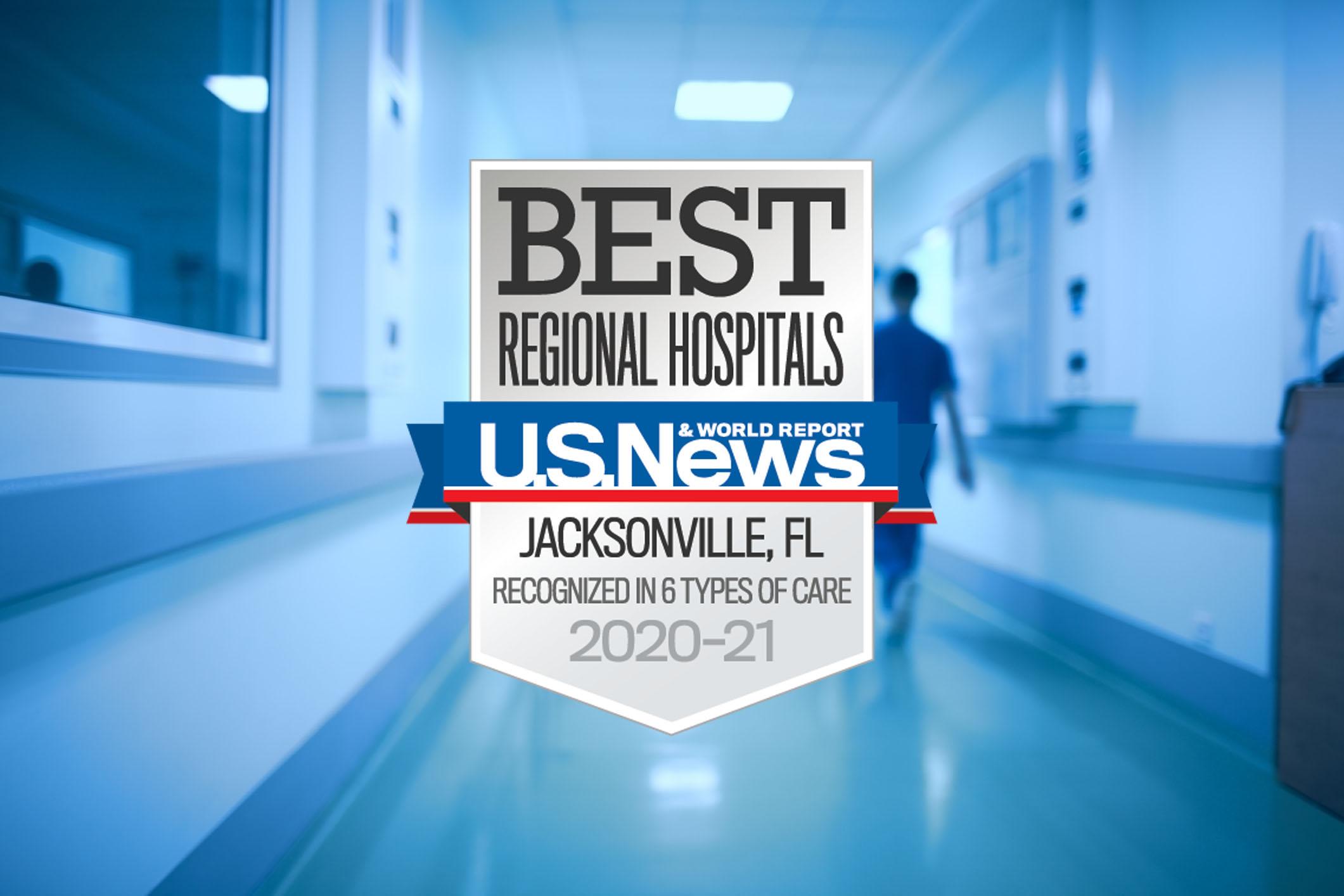 US News Regional Hospital Award badge on blurry image of hospital hallway