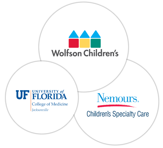 Logos of Wolfson Children's, Nemours and University of Florida College of Medicine Jacksonville