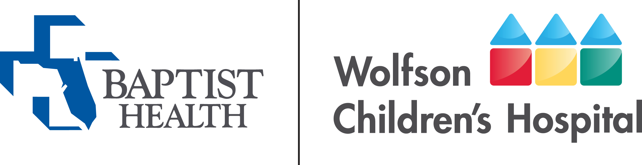 Baptist Health logo next to the Wolfson Children's Hospital logo