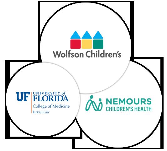 Logos of Wolfson Children's, Nemours Children's Health and University of Florida College of Medicine Jacksonville