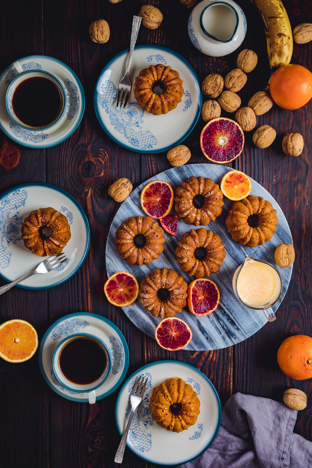 Carrot mini Bundt Cakes with walnuts and hint of blood oranges flavor