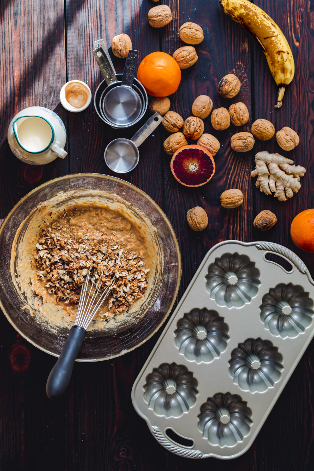 Carrot Bundt Cakes with walnuts
