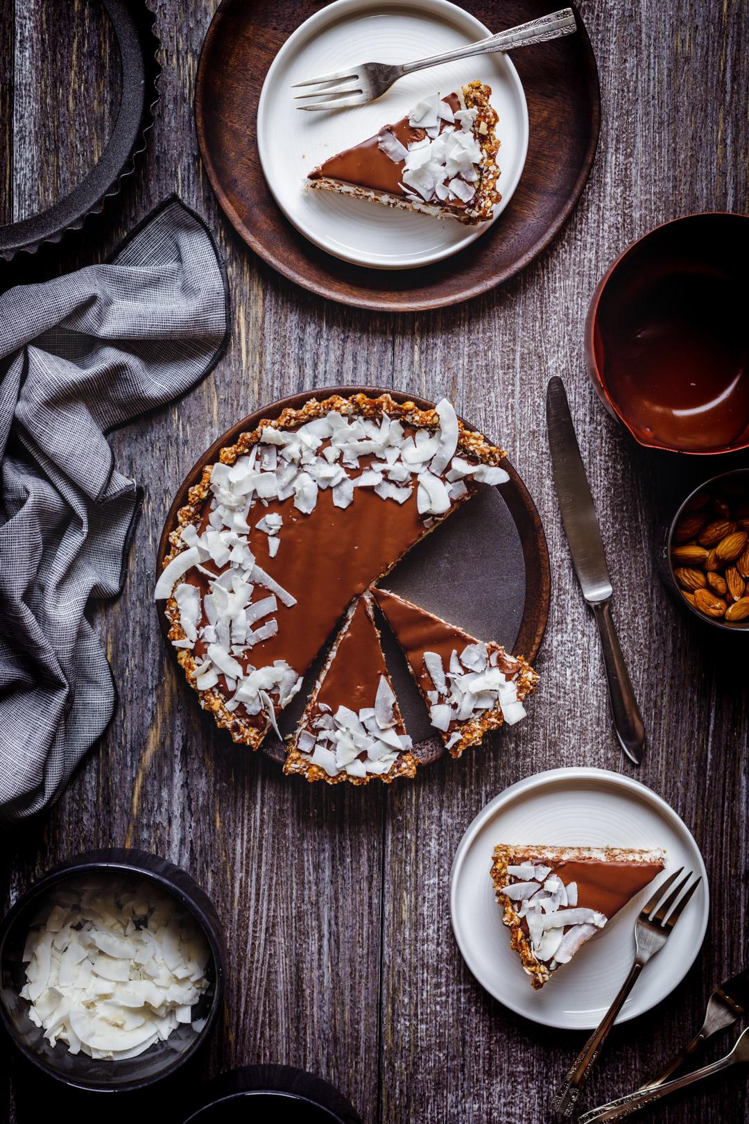 Vegan Chocolate Coconut Tart Gluten-free