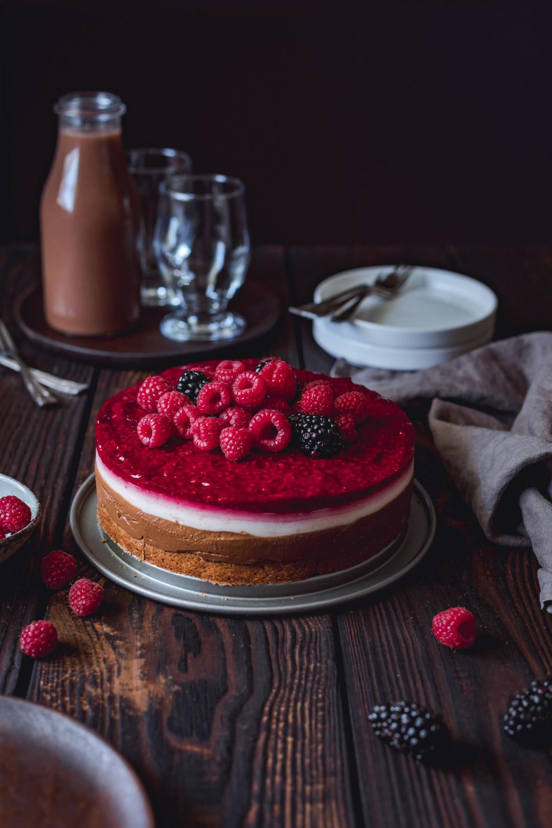 Chocolate Coconut Raspberry Cake