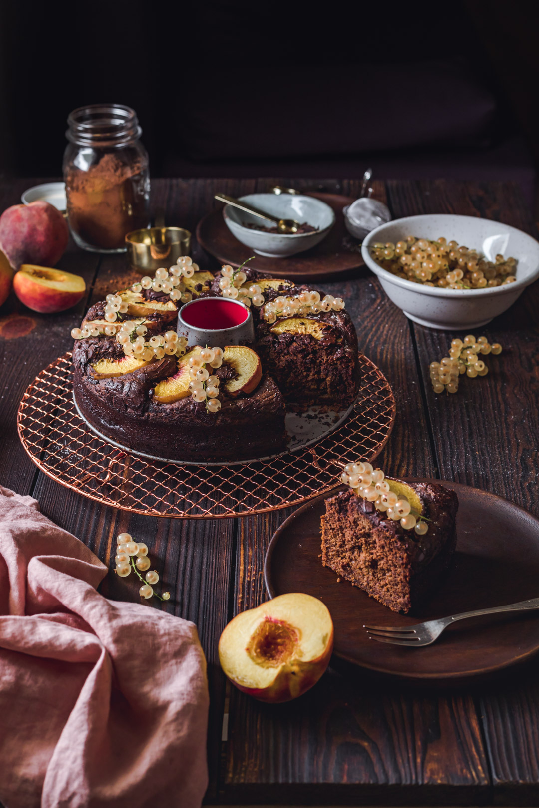 Vegan Chocolate Cake with Peaches