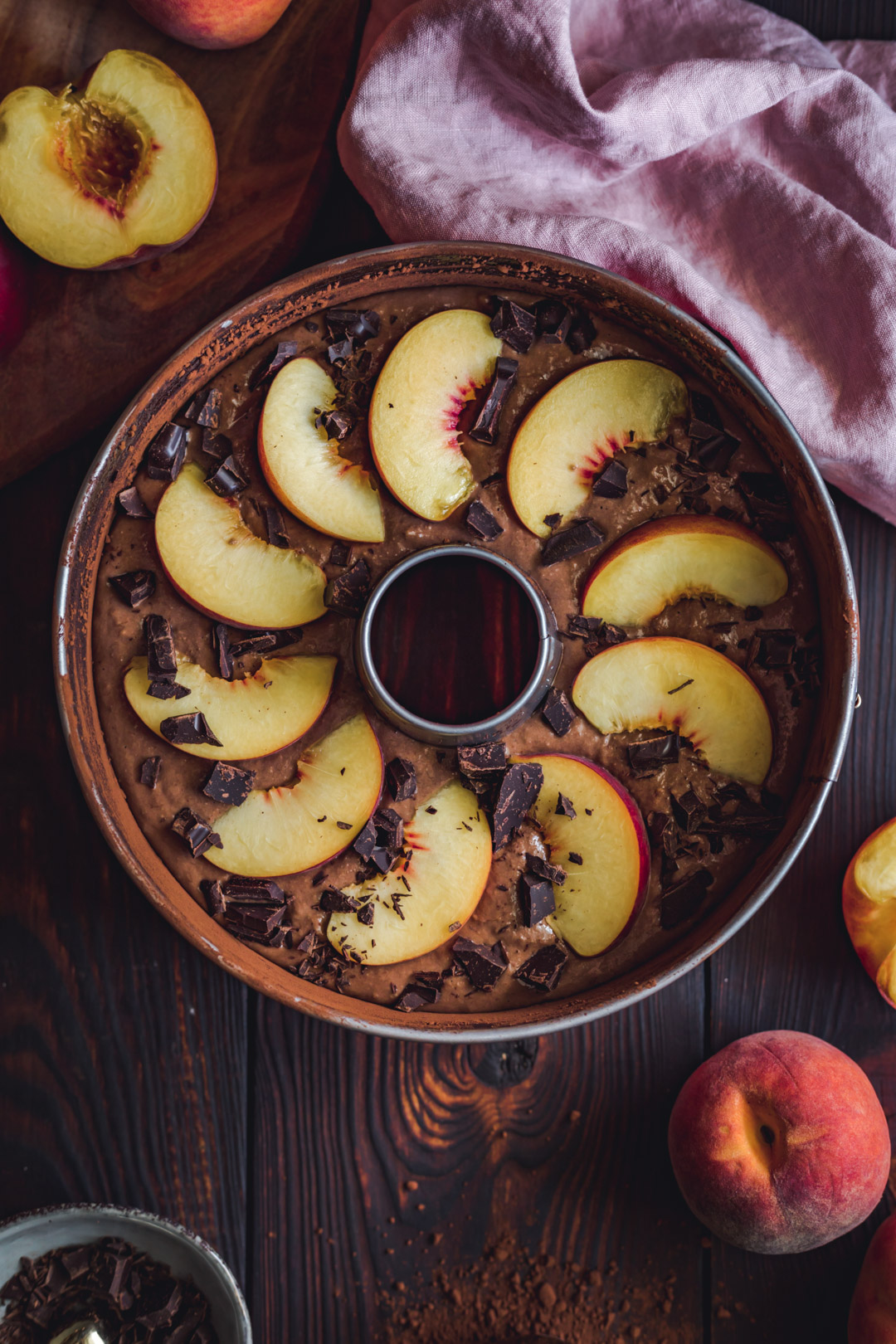 Vegan Chocolate Chiffon Cake with Peaches