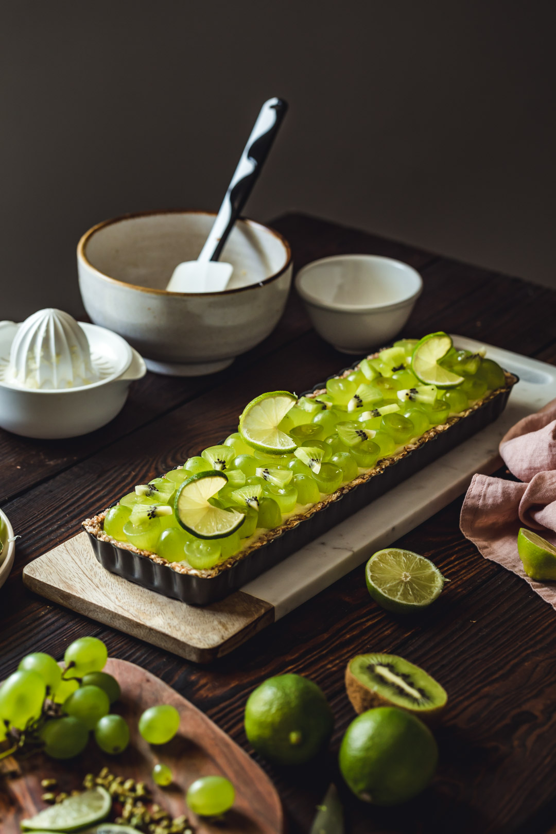 Vegan Lime Tart With Grape
