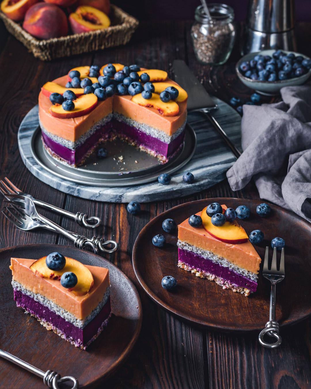Vegan Peach Blueberry Yoghurt Cake