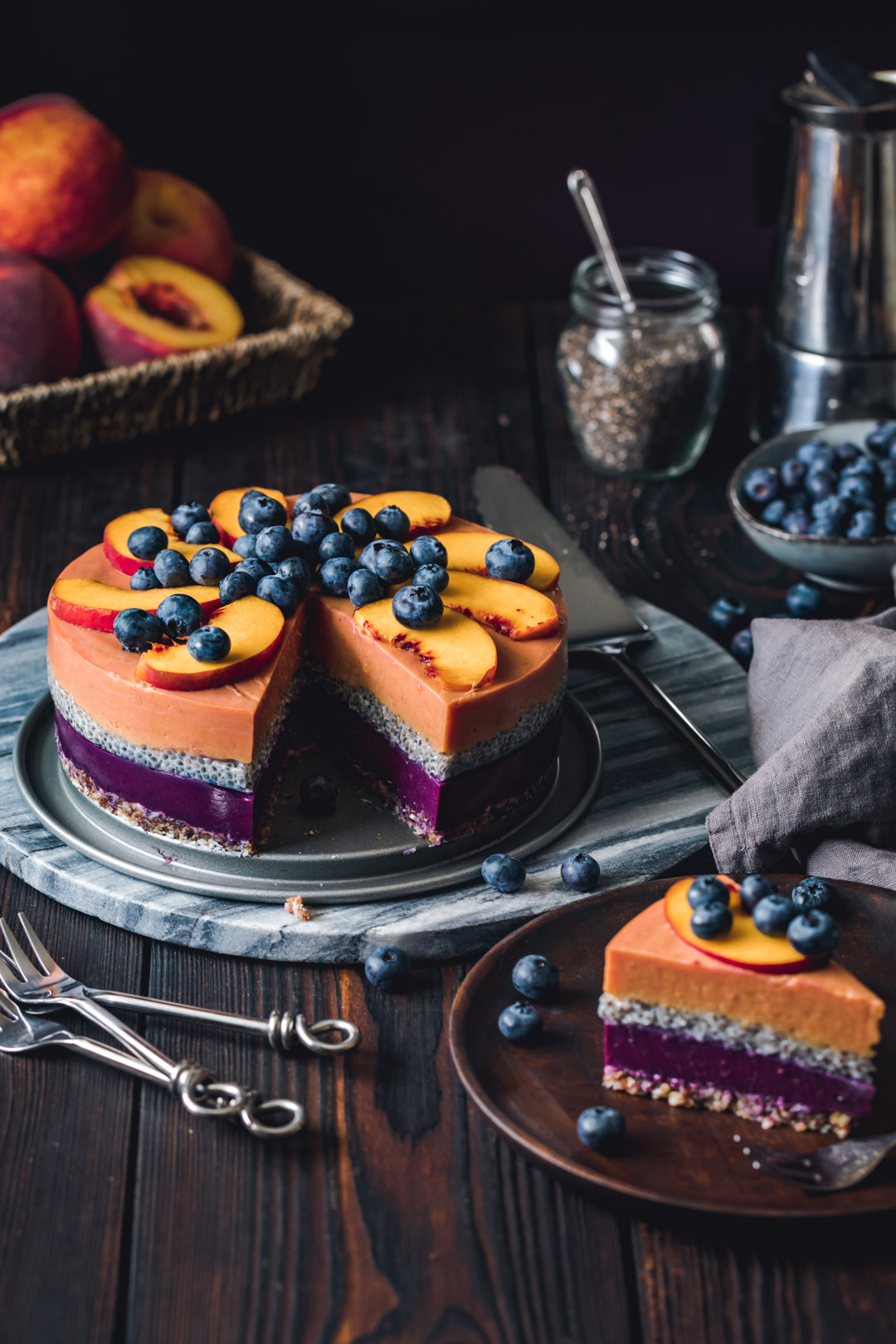 Vegan Peach Blueberry Cake With Chia Seeds