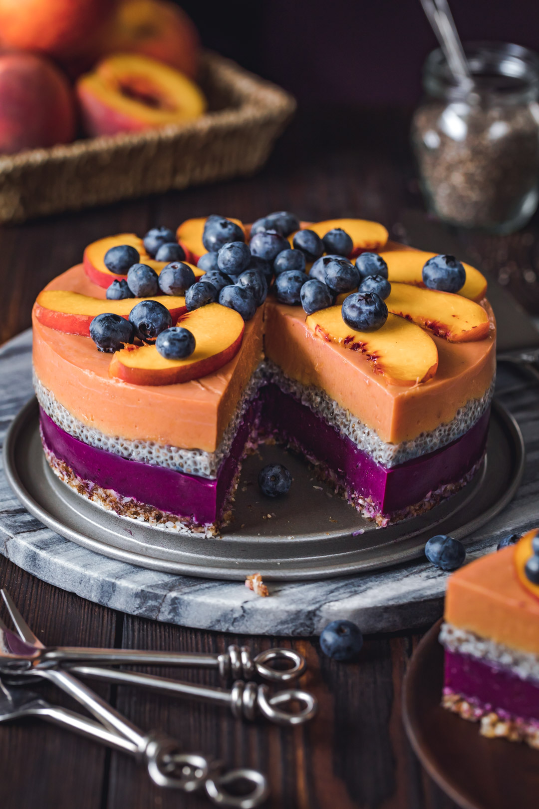 Vegan Peach Blueberry Cake