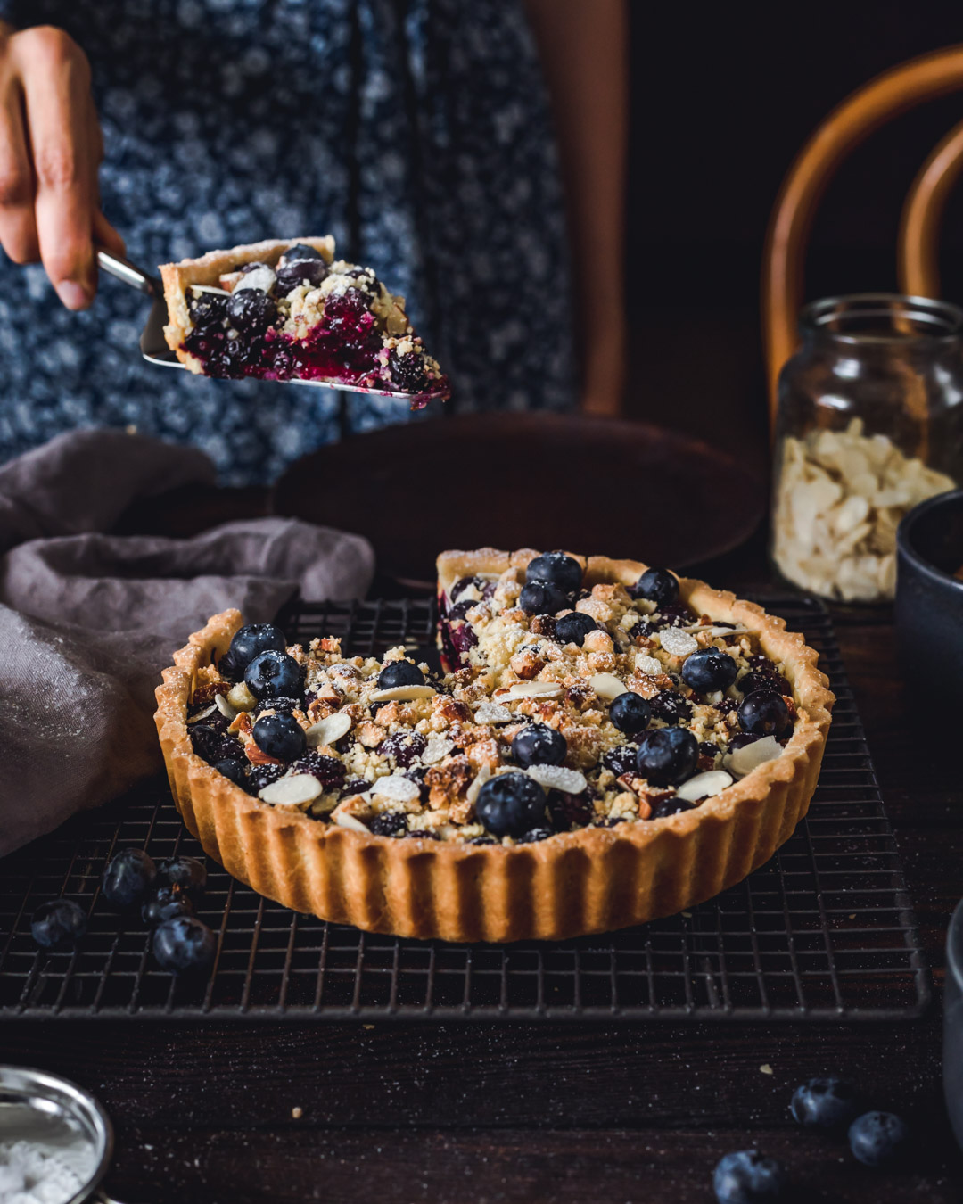 Vegan Blueberry Tart with Crumble