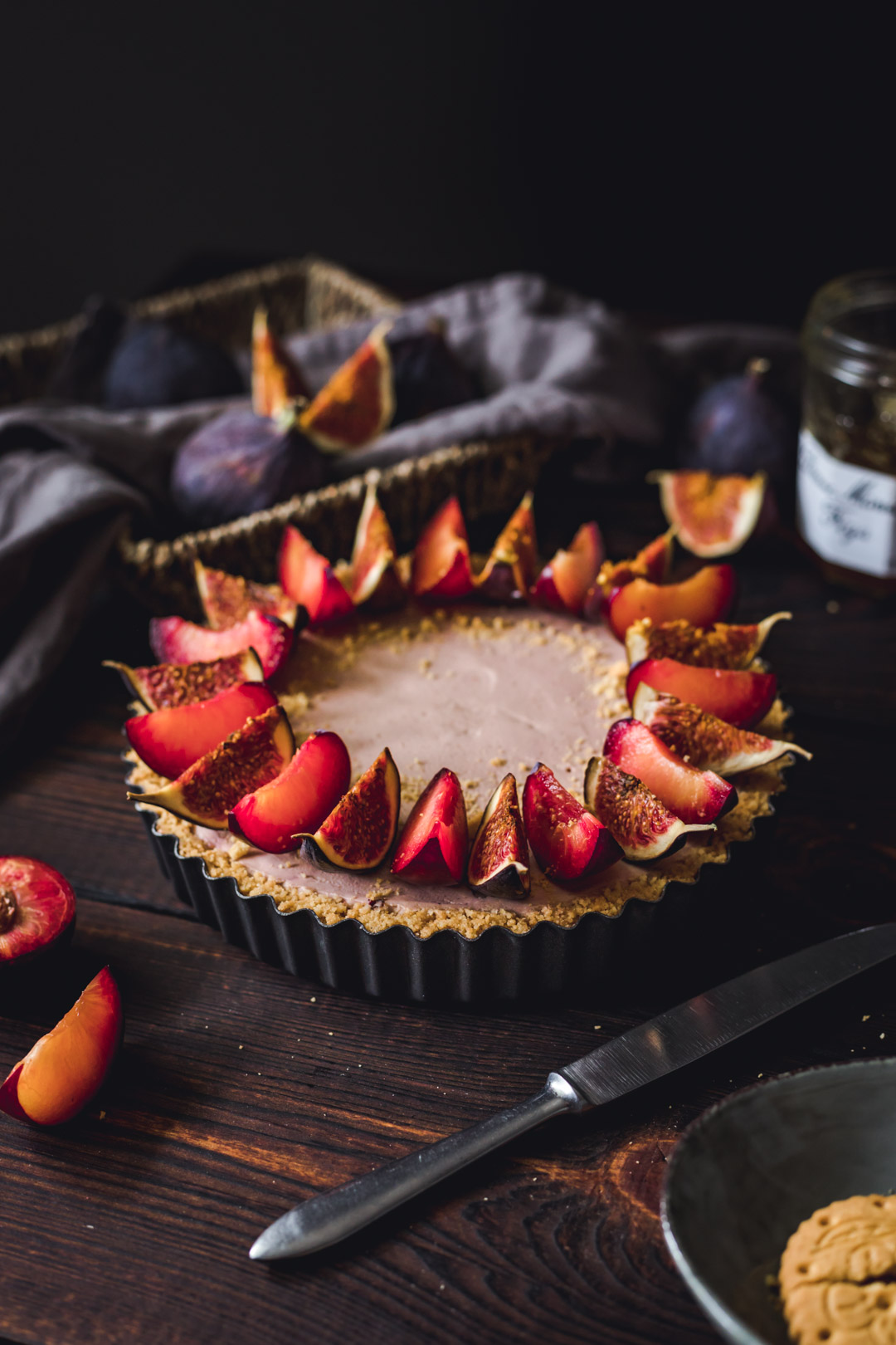 No-bake Plum Tart with Fig Jam