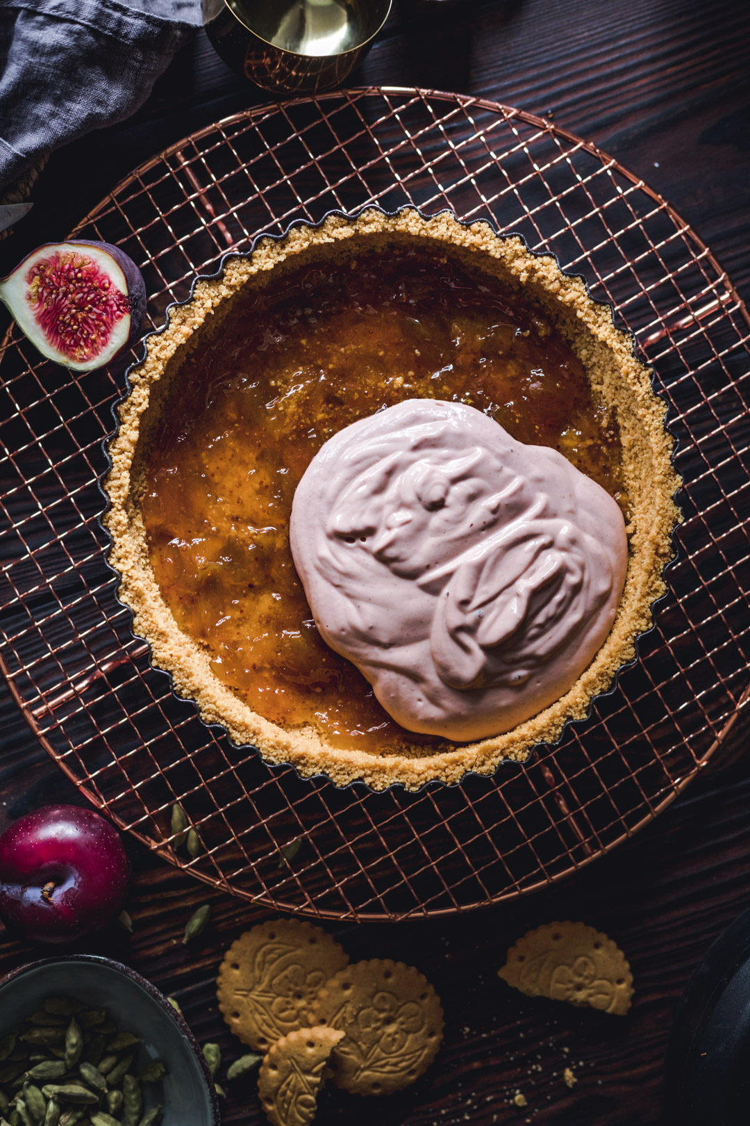 Vegan No-bake Creamy Plum Tart with Fig Jam