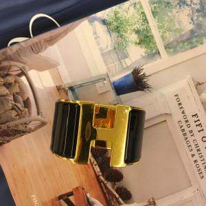 Bracelete Hermés preto e dourado ( grosso) tamanho médio #hermes #bracelete #gold