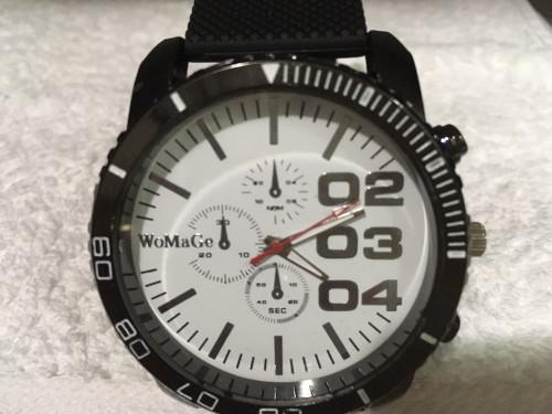 Relógio Womage 02.03.04, pulseira de silicone, ponteiros menores são decora...